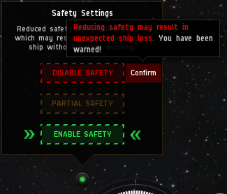 Eve online safty switch settings Screenshot